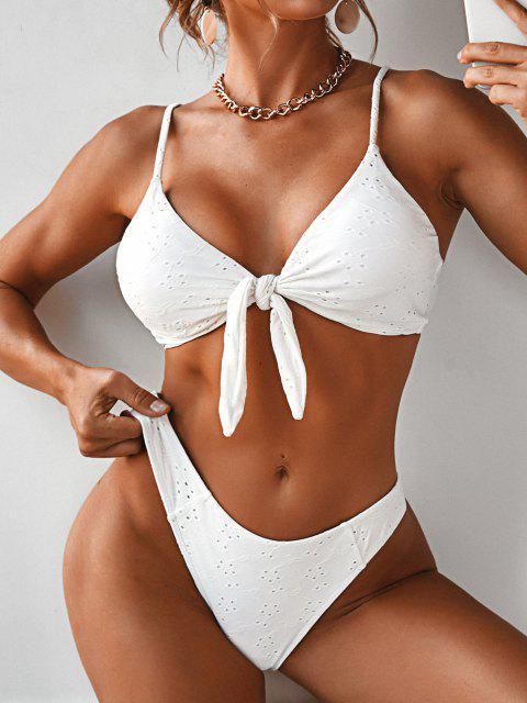 Bikini Annodato a Tre Pezzi Ricamato di ZAFUL - Bianca L Mobile