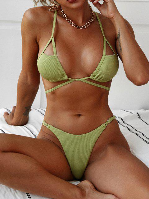 outfit ZAFUL Crisscross Cutout Tied String Bikini Swimwear - LIGHT GREEN M Mobile