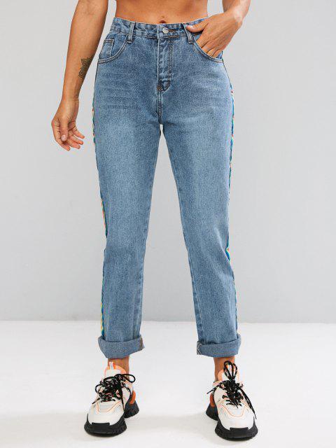Jean Contrasté à Côté à Taille Haute - Bleu XL Mobile