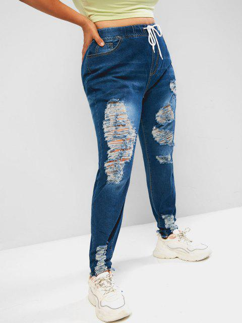 hot Plus Size Drawstring Ripped Jeans - LIGHT BLUE 5XL Mobile