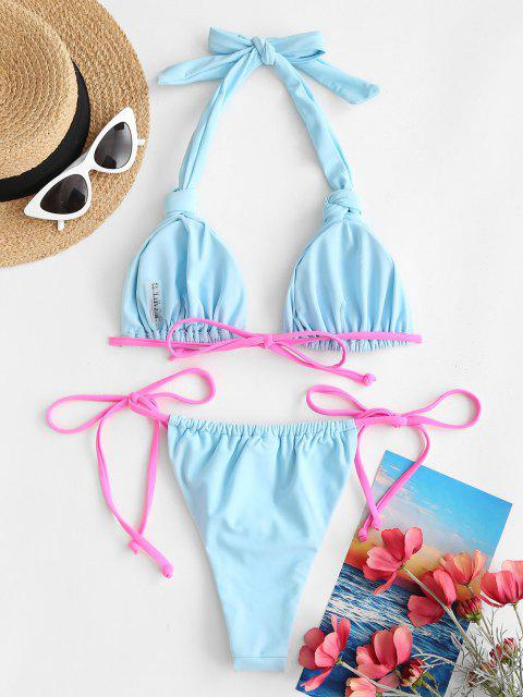 ZAFUL Costume da Bagno Bikini Annodato con Bretelle Imbottite Colore di Blocco - Azzurro S Mobile