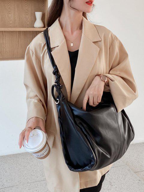 hot Knotted Strap Big Shoulder Bag - BLACK  Mobile