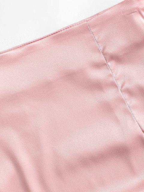 Gebundener Satin Bodycon Rock - Hell-Pink M Mobile