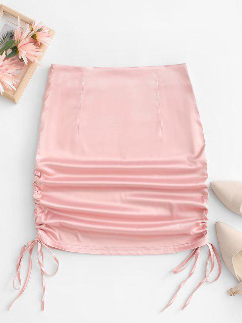online Satin Cinched Tie Bodycon Skirt - LIGHT PINK S Mobile