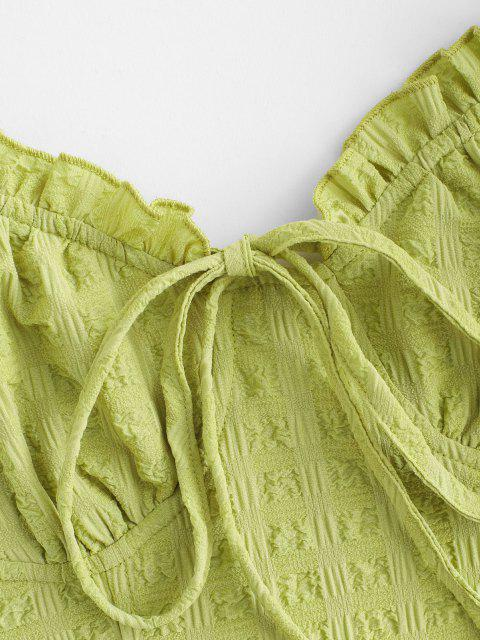 trendy Tied Seersucker Slit Smocked Two Piece Skirt Set - GREEN L Mobile