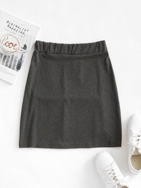 ladies Topstitching Slit Bodycon Mini Skirt - GRAY S Mobile