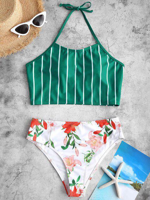 Costume da Bagno Tankini Floreale a Righe con Halter di ZAFUL - Verde intenso S Mobile