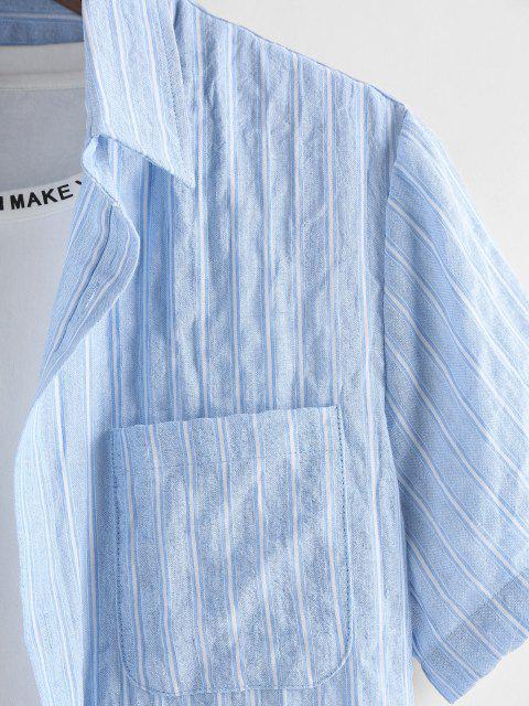 ZAFUL Streifen Tasche Patch Kurzarm Hemd - Hellblau XL Mobile