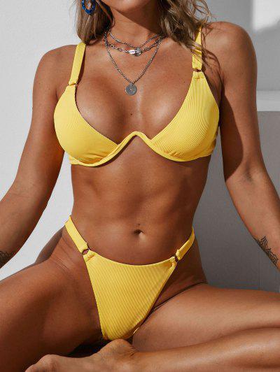 ZAFUL Ribbed Monowire Ring Tanga Bikini Swimwear - Yellow S