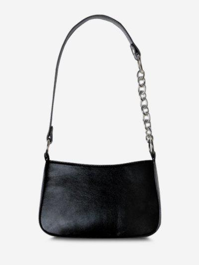 Half Chain Strap Shoulder Bag - Black