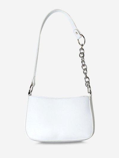 Half Chain Strap Shoulder Bag - White