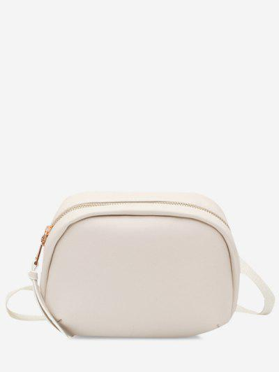 Small Oval Solid Crossbody Bag - White