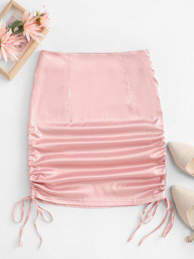 Satin Cinched Tie Bodycon Skirt - Light Pink S