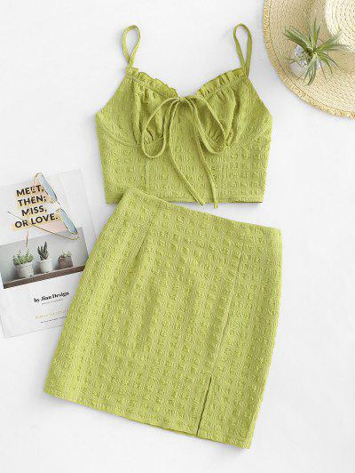 Tied Seersucker Slit Smocked Two Piece Skirt Set - Green M