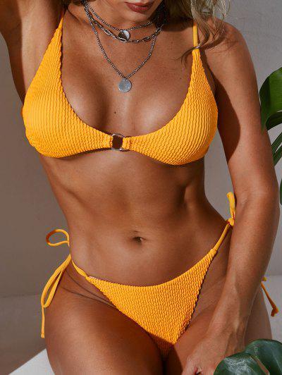 Zaful O-Ring이 묶여있는 Loincloth 비키니 수영복을 묶었습니다 - 노랑 에스