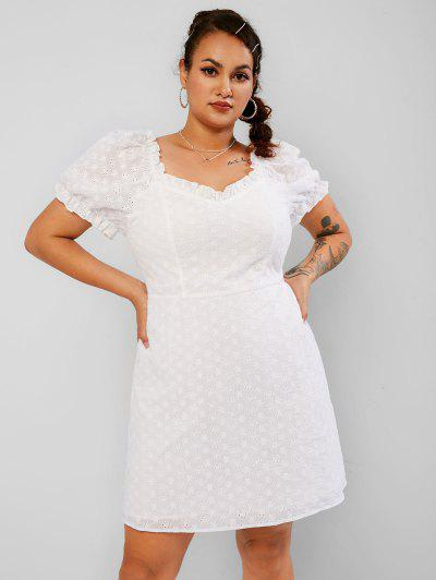 ZAFEL 플러스 사이즈 프릴 Broderie Anglaise 퍼프 슬리브 드레스 - 하얀 5xl