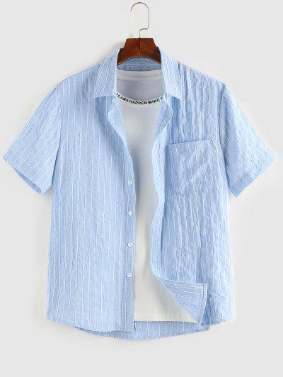 ZAFUL Streifen Tasche Patch Kurzarm Hemd - Hellblau L