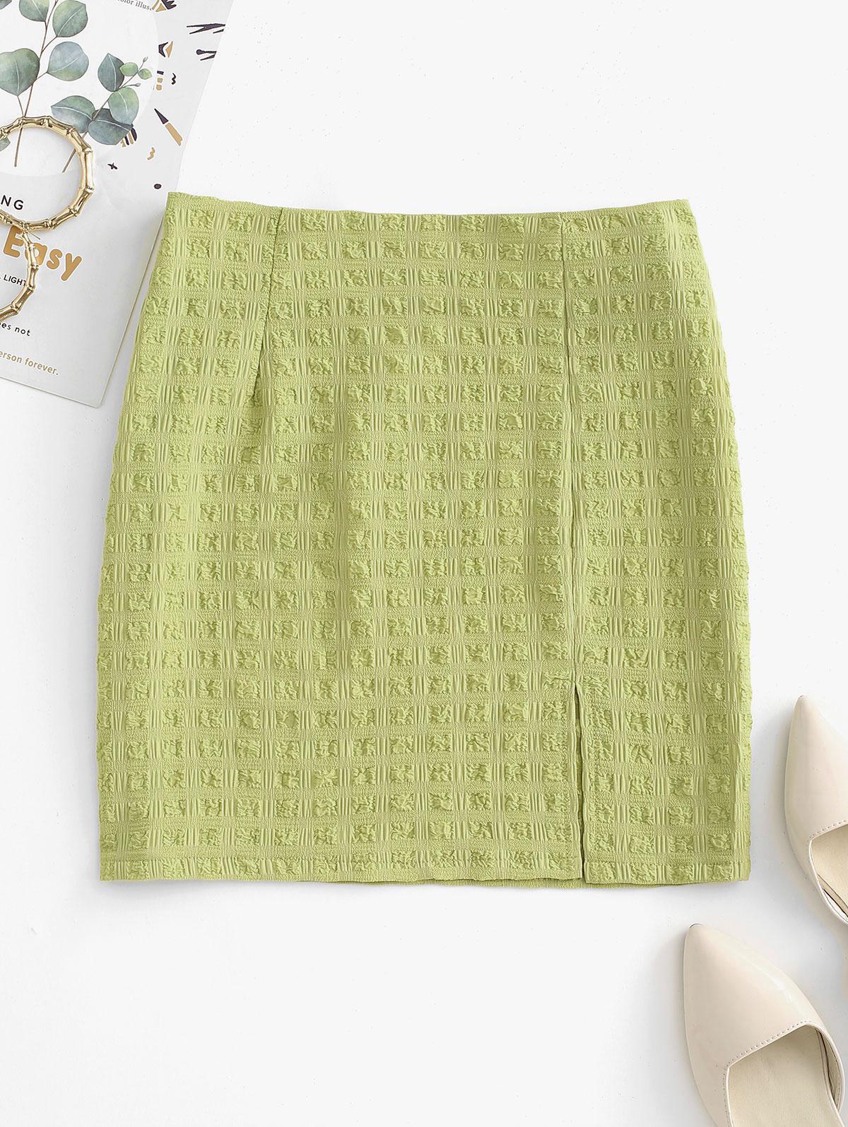 Seersucker Plaid Slit Mini Skirt