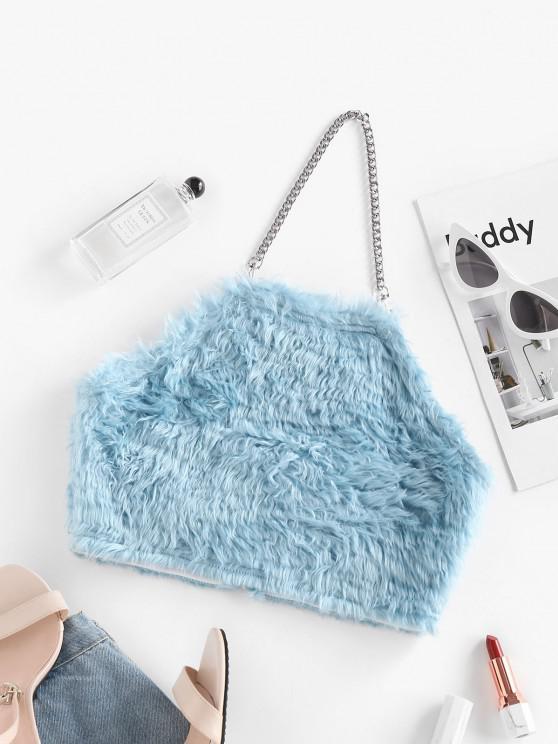 fancy Halter Chains Fuzzy Crop Top - LIGHT BLUE L