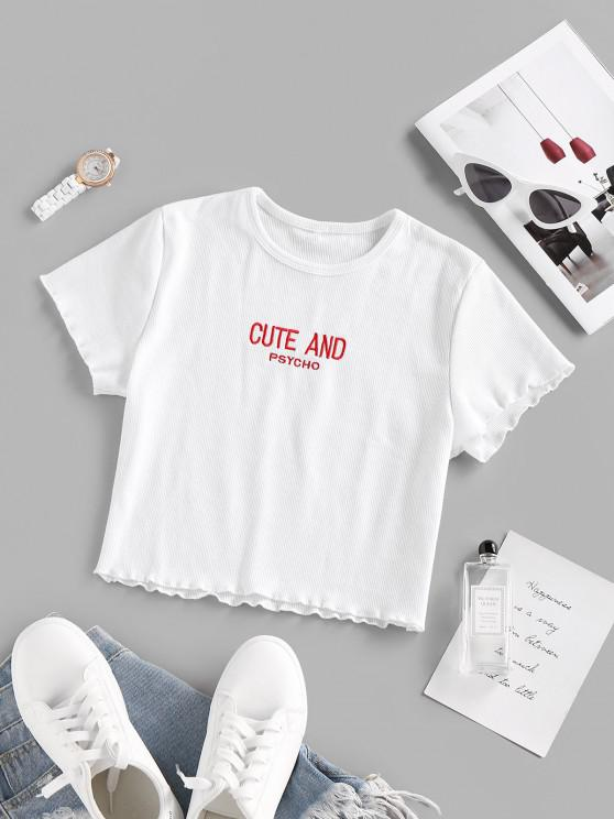 best Basic Letter Embroidered Lettuce Trim Cropped Tee - WHITE M
