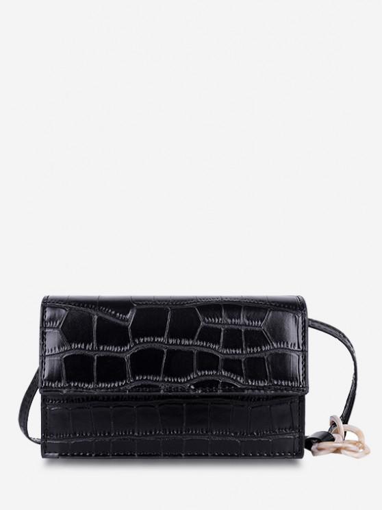 Bolsa Cruzada Textura Minimalista y Cadena - Negro