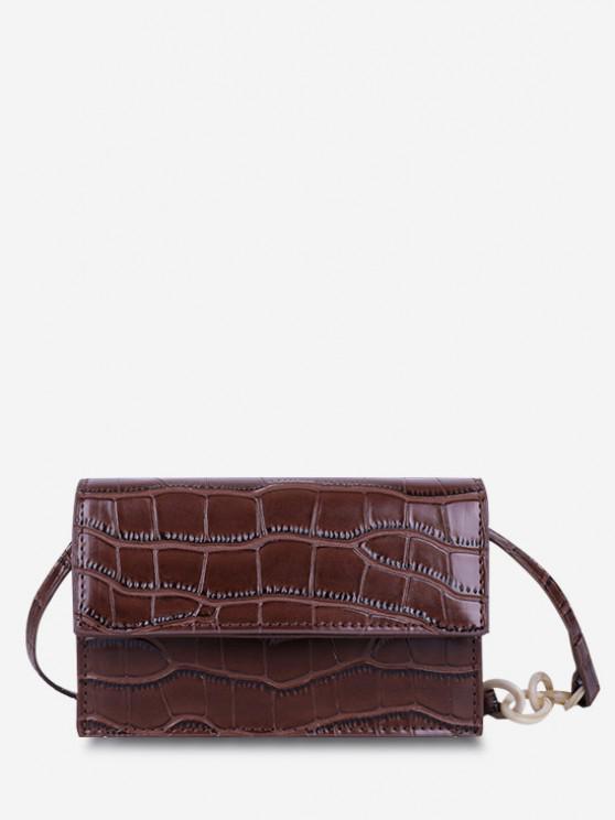 fancy Minimalist Embossed Chunky Chain Flap Crossbody Bag - BROWN
