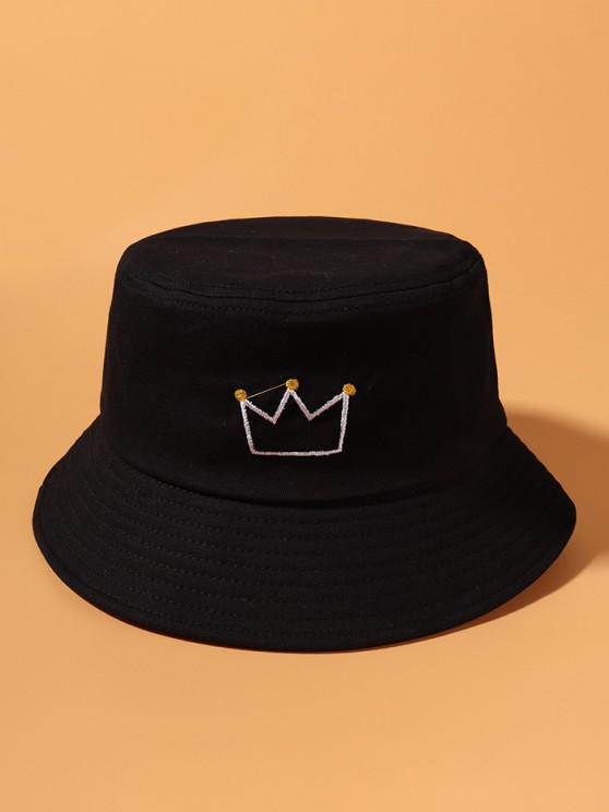 lady Crown Embroidery Cotton Casual Bucket Hat - BLACK