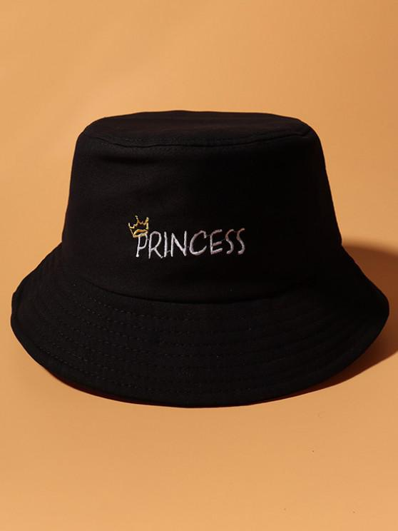 best Letters Crown Embroidery Bucket Hat - BLACK