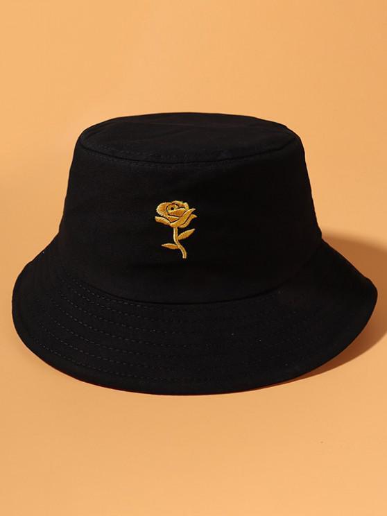 Cappello da Pescatore a Secchio in Cotone con Ricamo a Rosa - Nero