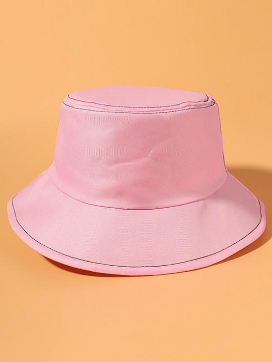 Metallische Cropped Detail Lässige Bucket Hut - Rosa