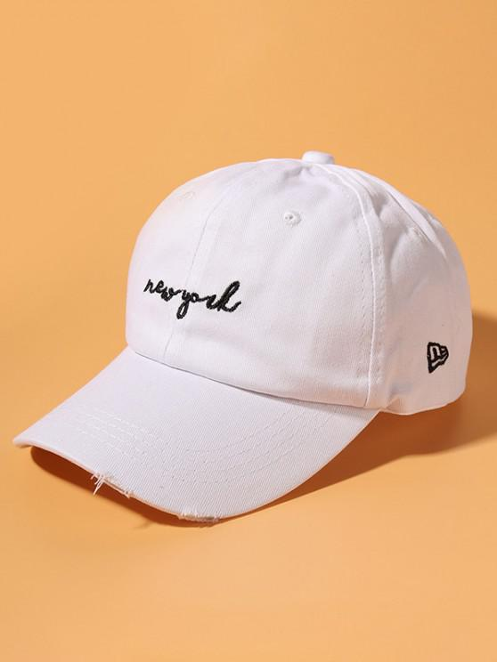 Letter Embroidery Ripped Cotton Baseball Cap - أبيض