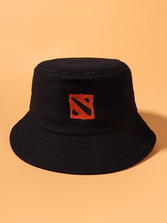 Cappello da Pescatore a Secchio in Cotone Ricamato con Motivo Quadrato - Nero