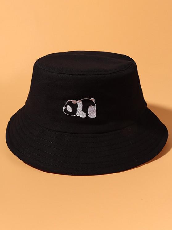 Panda Stickerei Baumwoll Lässige Bucket Hut - Schwarz