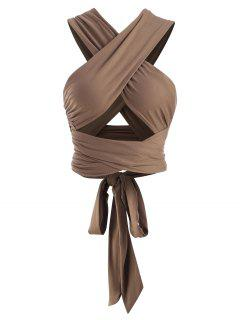 Tie Back Criss Cross Wrap Crop Top - Coffee