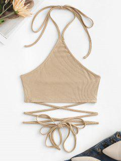 Halter Rib-knit Midriff Flossing Crop Top - Light Coffee S