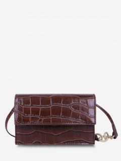 Minimalist Embossed Chunky Chain Flap Crossbody Bag - Brown