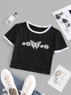 Butterfly Daisy Print Cropped Ringer Tee - Black L