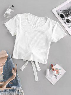 ZAFUL Backless Tie Crop T Shirt - White S
