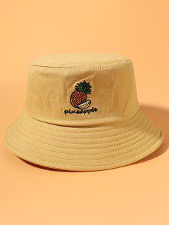 Letter Pineapple Embroidery Cotton Bucket Hat - Yellow