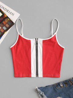 Two Tone Pull Ring Zip Cami Top - Red M