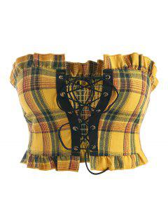 Plaid Lace-up Frilled Smocked Bandeau Top - Yellow M