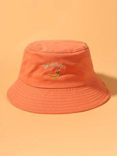 Banana Letter Embroidery Cotton Bucket Hat - Orange