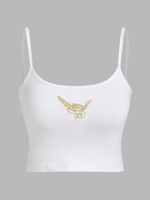 Top Curto bordado de anjo Cortado - Branco S Mobile