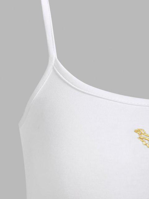 Crop T-shirt Brodé - Blanc L Mobile