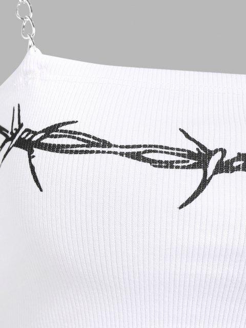 Geripptes Ketten Crop Top mit Riemen - Weiß S Mobile