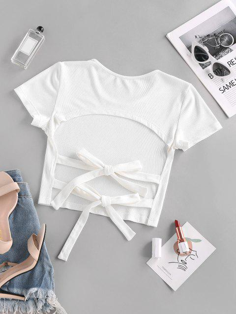 outfits ZAFUL Backless Tie Crop T Shirt - WHITE L Mobile