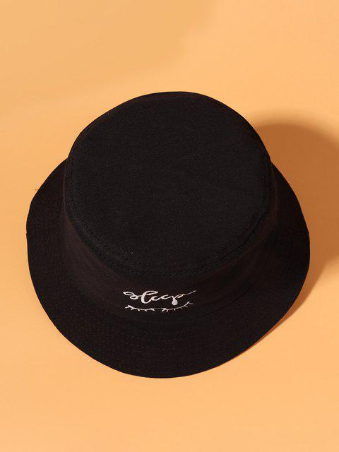 ladies Eyelashes Letter Embroidered Cotton Bucket Hat - BLACK  Mobile
