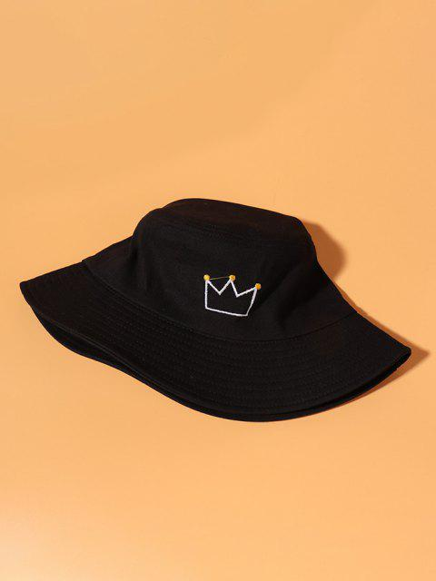 lady Crown Embroidery Cotton Casual Bucket Hat - BLACK  Mobile