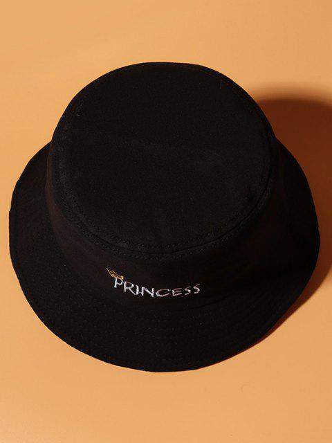 best Letters Crown Embroidery Bucket Hat - BLACK  Mobile