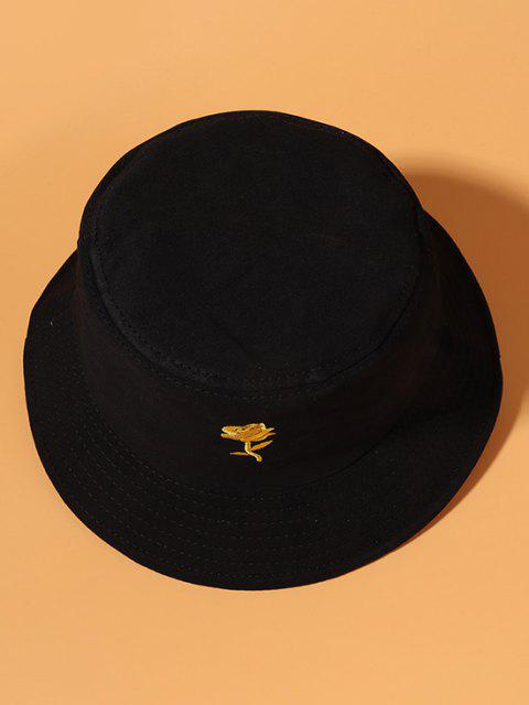 online Gold-Tone Rose Embroidery Cotton Bucket Hat - BLACK  Mobile